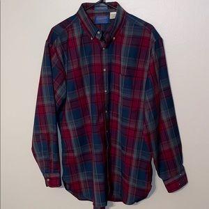 Men's Pendleton Plaid Wool Shirt Sz Large